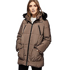 Maine New England - Taupe faux fur trim hood padded coat