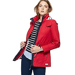 Maine New England - Red hooded shower resistant jacket