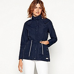 Maine New England - Navy hooded shower resistant jacket