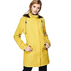 Maine New England - Yellow hooded shower resistant longline jacket