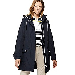Maine New England - Navy hooded shower resistant longline jacket