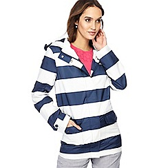 Maine New England - Navy wide stripe print shower resistant jacket
