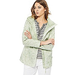 Maine New England - Light green leaf print shower resistant hooded jacket