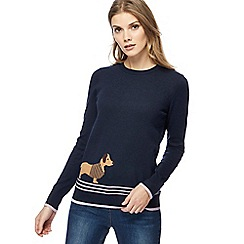 Maine New England - Navy cashmere blend dog knit jumper