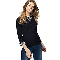 Maine New England - Navy 2-in-1 cable knit jumper