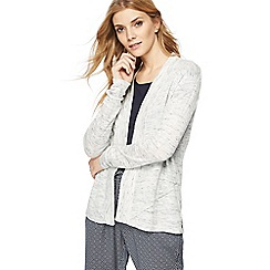 Maine New England - Light grey longline linen blend cardigan
