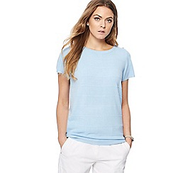 Maine New England - Light blue textured short sleeve jumper