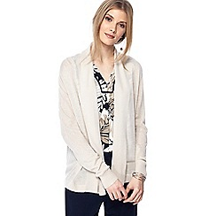 Maine New England - Natural textured stripe linen blend cardigan