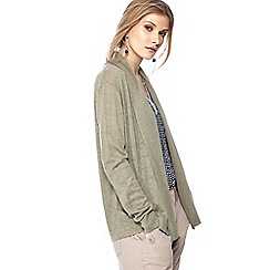 Maine New England - Khaki textured stripe linen blend cardigan