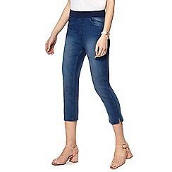 Maine New England - Blue straight leg elasticated waist cropped jeggings