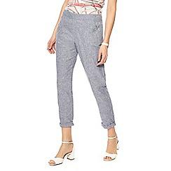 Maine New England - Blue linen blend regular fit trousers