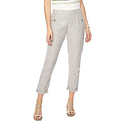 Maine New England - Grey linen blend regular fit trousers