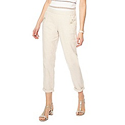 Maine New England - Cream linen blend regular fit trousers