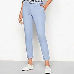 Maine New England - Blue chevron belt cotton blend chino trousers