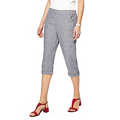 Maine New England - Blue linen blend cropped trousers