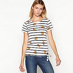 Maine New England - White striped orange print self tie top