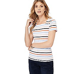 Maine New England - White striped print jersey top