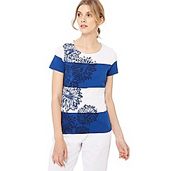 Maine New England - Bright blue chrysanthemum stripe print t-shirt