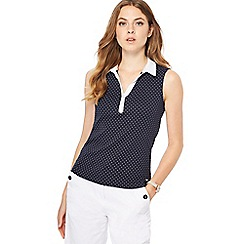 Maine New England - Navy spot print collared sleeveless top