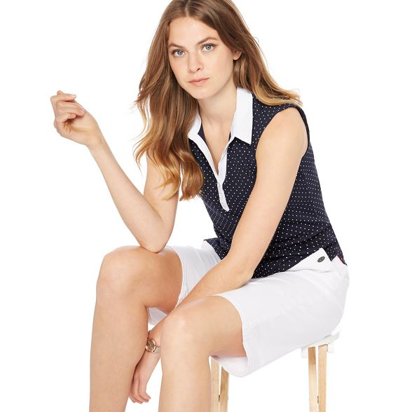 England spot top Navy New Maine sleeveless print collared tqp55y