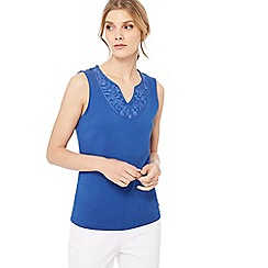Maine New England - Bright blue embroidered yoke notch neck top
