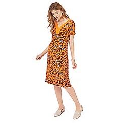 Maine New England - Orange floral print jersey midi dress