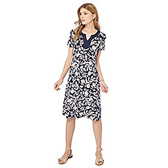 Maine New England - Navy floral print jersey midi dress