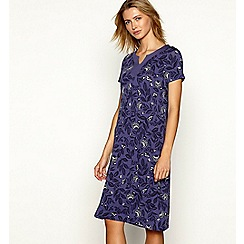 Maine New England - Purple floral print jersey short sleeve knee length dress