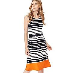 Maine New England - Navy striped jersey knee length dress