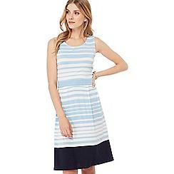 Maine New England - Light blue striped jersey knee length dress