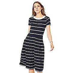 Maine New England - Navy stripe print jersey knee length dress
