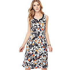 Maine New England - Orange floral print notch neck sleeveless knee length shift dress