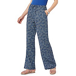 Maine New England - Mid blue printed wide leg trousers