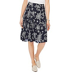 Maine New England - Navy leaf print  skirt