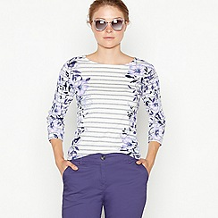 Maine New England - Grey floral striped print top