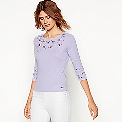 Maine New England - Lilac floral embroidered cotton top