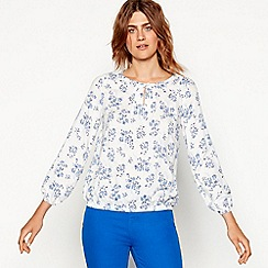 Maine New England - Off white floral print long sleeve top
