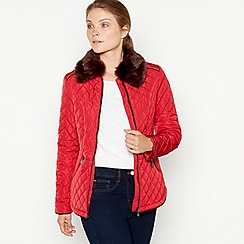 Maine New England - Red faux fur collar quilted jacket