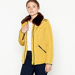 Maine New England - Dark yellow faux fur collar quilted jacket