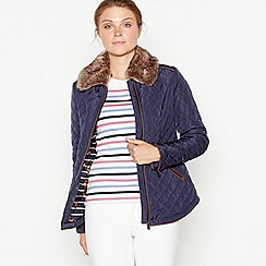 Maine New England - Navy faux fur collar quilted jacket