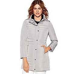 Maine New England - Dark grey faux fur trim hooded jacket