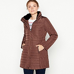Maine New England - Dark brown faux fur collar quilted puffer coat