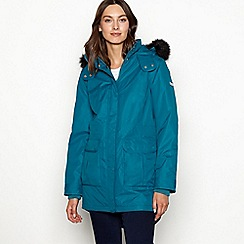 Maine New England - Turquoise faux fur hood waterproof jacket