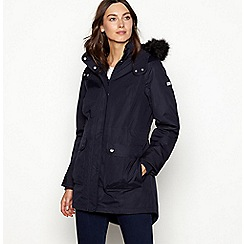 Maine New England - Navy faux fur hood waterproof jacket