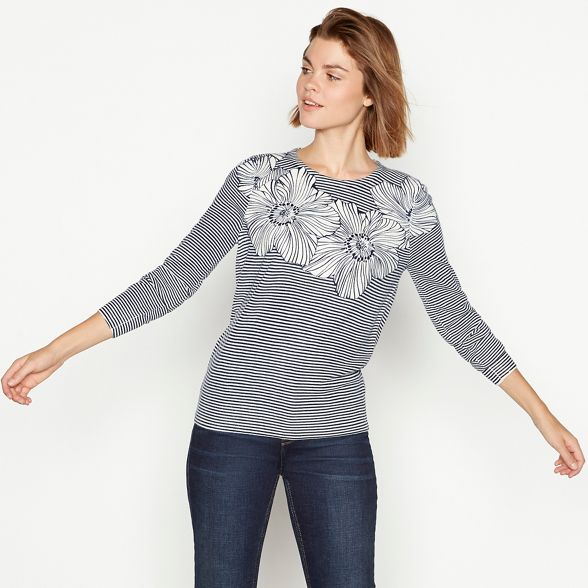knit ultra and New Natural soft England jumper stripe floral Maine apUqwff8