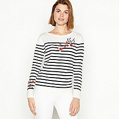 Maine New England - Ivory stripe and floral embroidered soft knit jumper