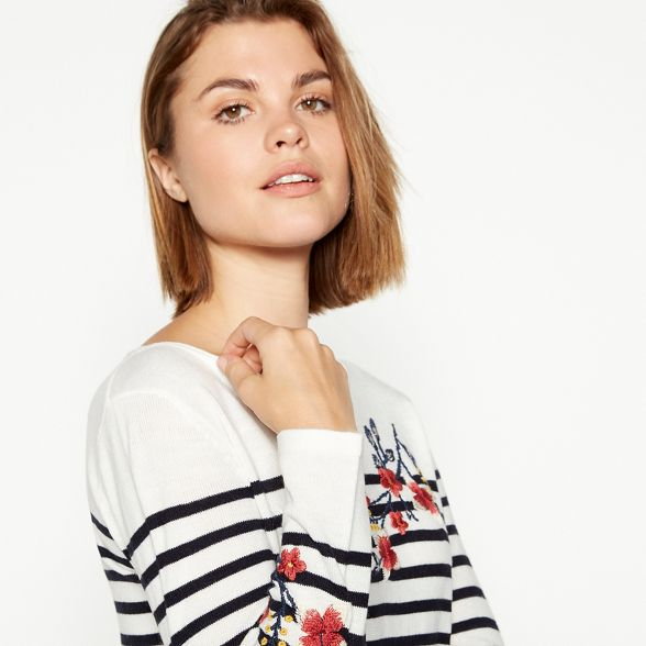 floral stripe soft Maine Ivory knit England jumper and embroidered New 4wCqwAFxT
