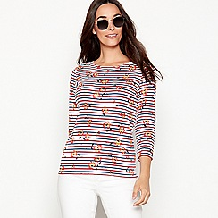 Maine New England - Off white stripe and floral print soft touch cotton top