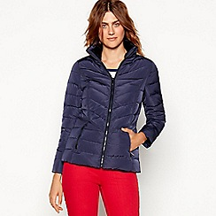 Maine New England - Navy Faux Fur Trim Hooded Padded Down Jacket