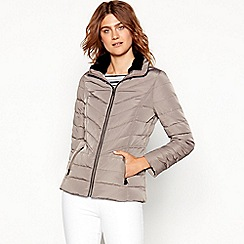 Maine New England - Taupe fur trim hooded padded down jacket